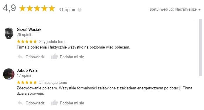 Fotowoltaika Calma Energy opinie Google